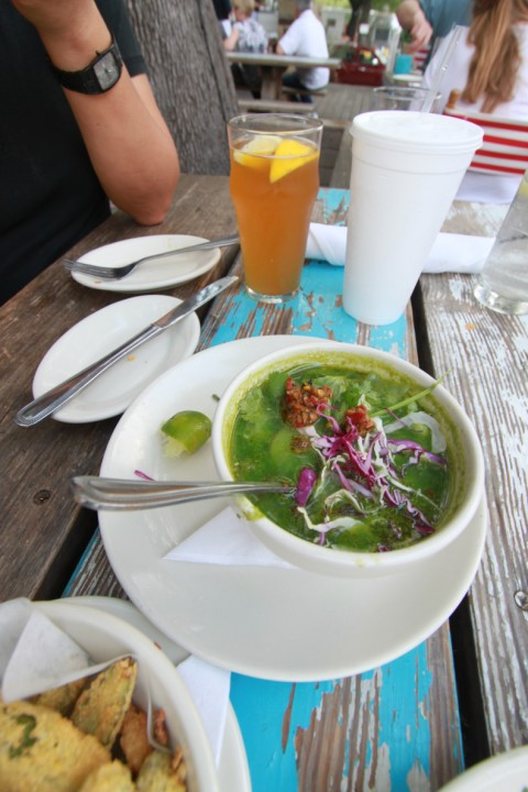 bay scallop posole verde at perla's