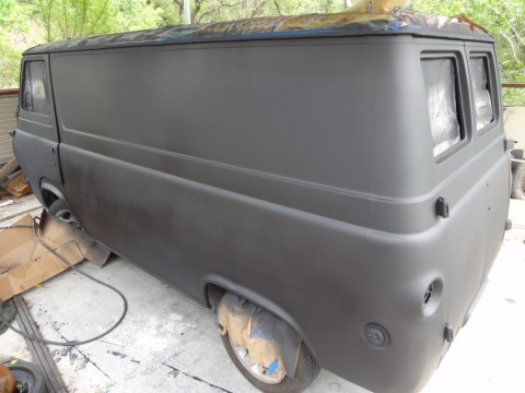 flat black early econoline van