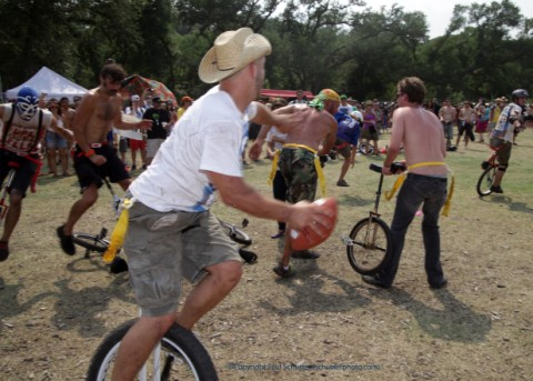 unicycle football cowboy