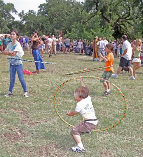 kids with hula hoops eeyore's birthday 2012 austin pease park
