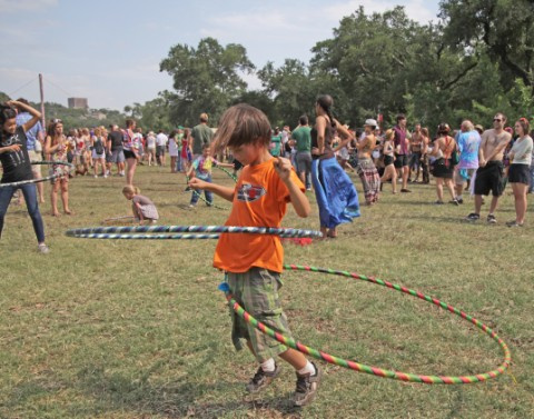 dual hula hooping it up at eeyore's birthday party austin texas 2012