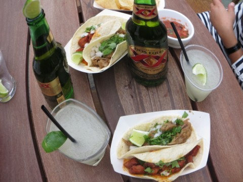 tacos al pastor at micheladas rooftop grand opening austin