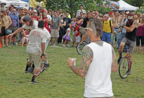 unicycle football at eeyore's birthday party 2013