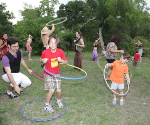 hula hoop at eeyore's party 2013