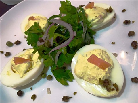 little barrel and brown happy hour austin gravlox deviled eggs