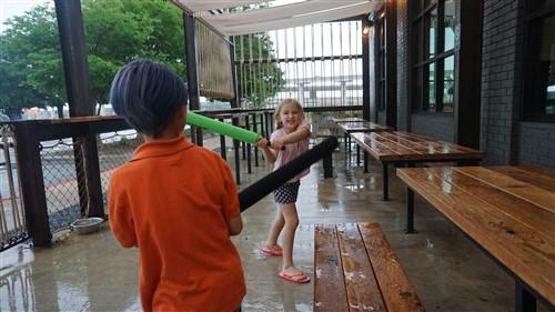 pinthouse pizza south lamar patio rainy day battle