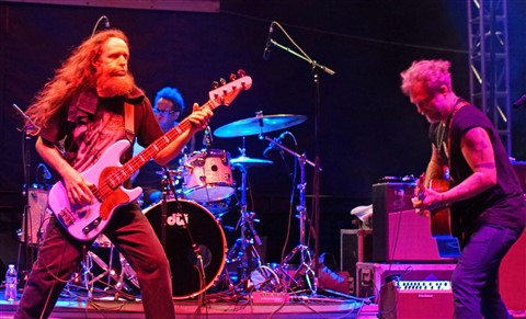 Carl Dufrene a wild man on bass guitar anders osborne and brady blade drums