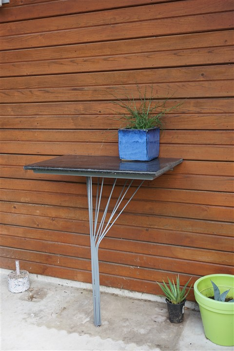 black granite topped one legged table paul schuster
