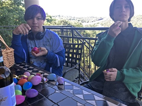 grumpy teenage boys after the easter egg hunt