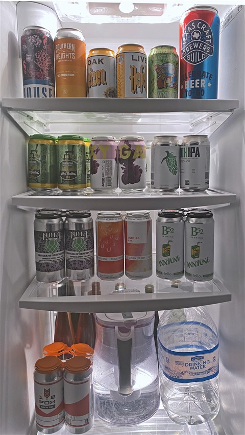 stocked up beer fridge