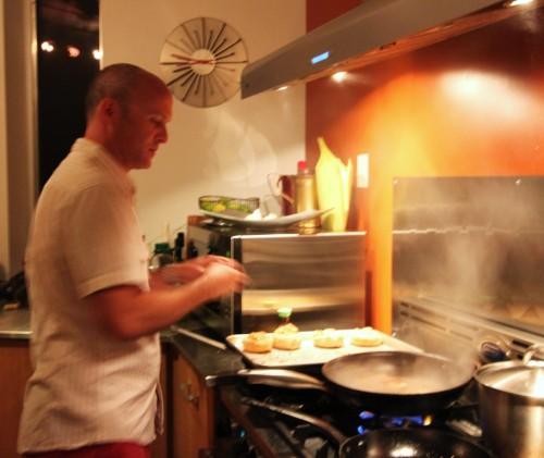 searing up the calamari steaks