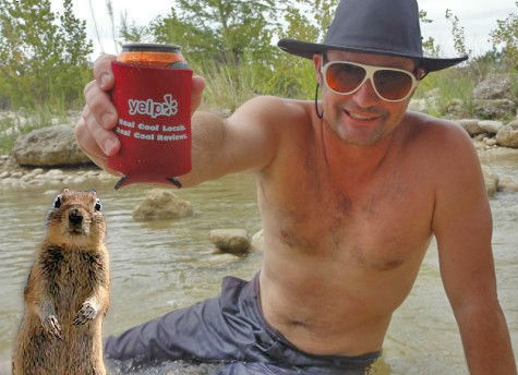 yelp koozie in the rio frio with crasher squirrel