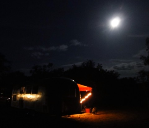 1964 airstream overlander under the full moon