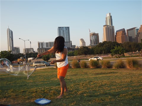 kat made big bubbles at long center austin skyline