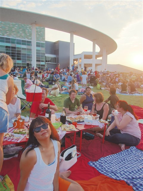 extreme picnicing austin long center lawn sunset summer