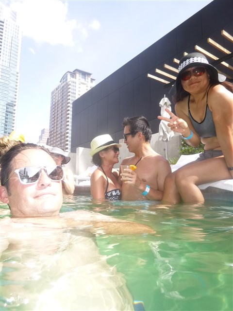 selfie at the w hotel pool austin