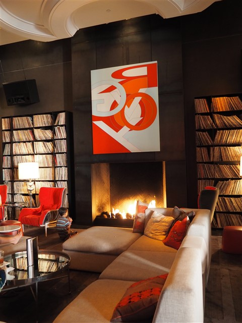 w hotel living room library fireplace austin