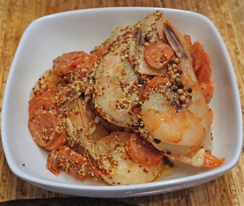 sous vide poached shrimp and sausage