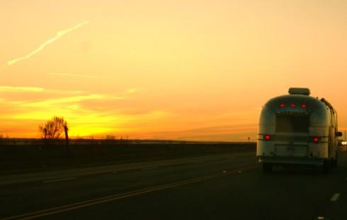 airstream travel sunset