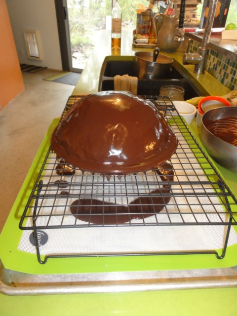chocolate dome cake with orange liquer and genoise