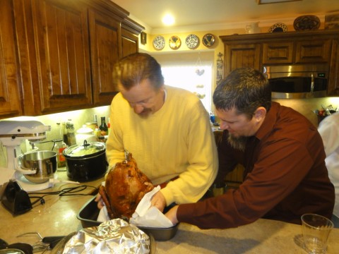 new step brother wrestles a fried turkey