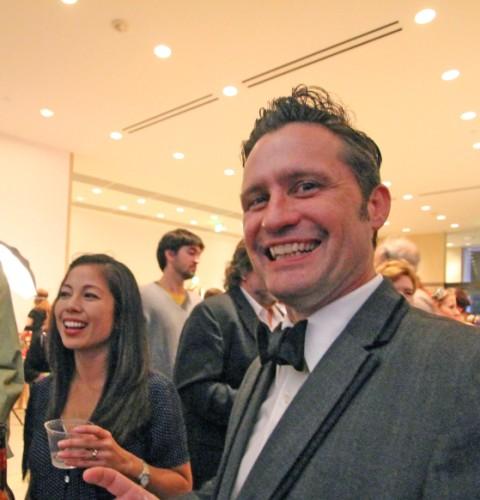 black tie dude at blanton art museum bscene party