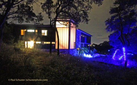 austin modhouse at night wlh amh blue christmas lights