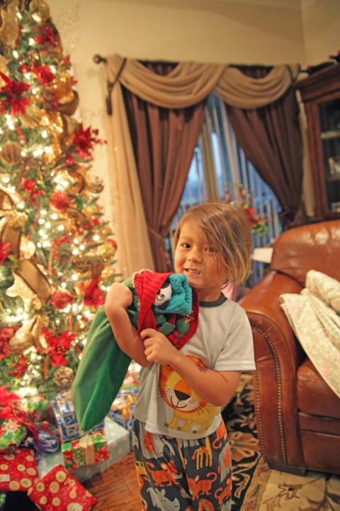 happy christmas stocking boy