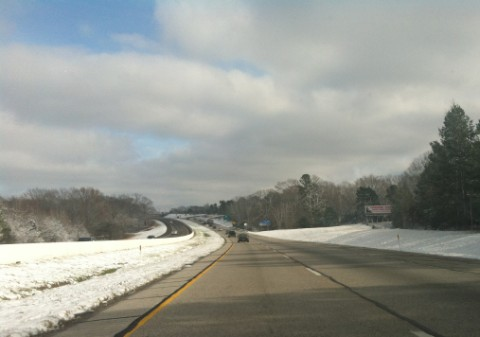 I20 snow from dallas to longview christmas 2012
