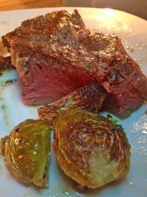beef tenderloin sous vide 7 hours at 133F and brussels sprouts