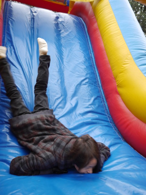 bouncy jump house face plant