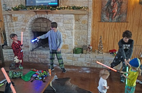 christmas morning light saber battle