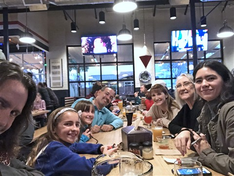 family table at Pinthouse Pizza Austin