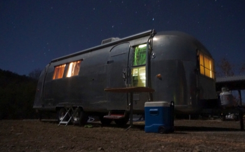 vintage airstream at lost maples state park texas 1964 overlander