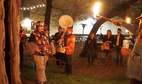 krampus summoned from the forest at live oak brewing austin