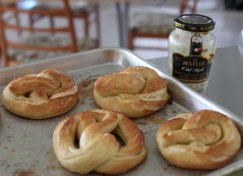 hot pretzels with maille mustard