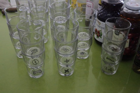 marked vodka glasses