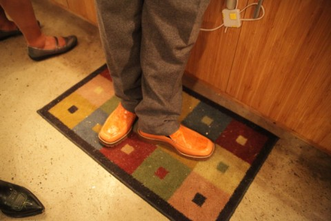 orange alligator loafers