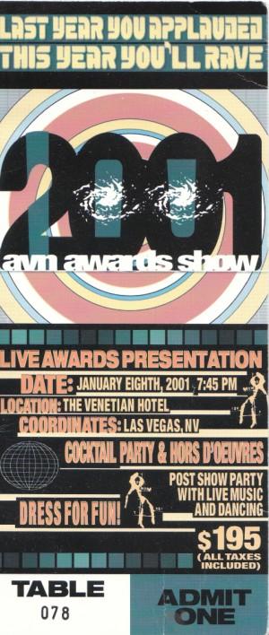 2001 AVN awards ticket