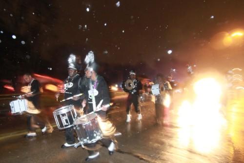 mardi gras marching band in the rain gemini parade 2012