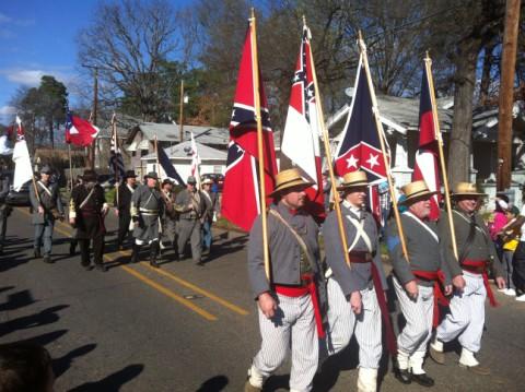 southern rebel flag at the highland parade
