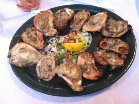 champagne grilled oysters from the oyster bar