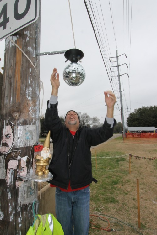 "disco gnome and disco ball mardi gras space #83 ""let's do this"""