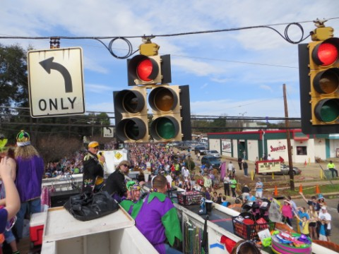 heads up, tall mardi gras float highland parade