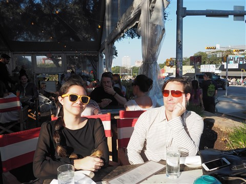 sunny february day in austin texas on the patio at perla's