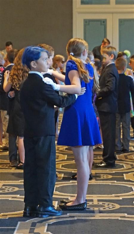 blue hair boy ballroom dancing austin cotillion