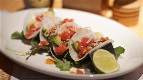 caroline tuna tartare tacos on jicama