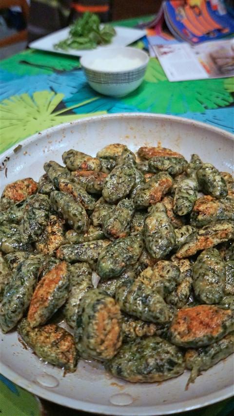 home made spinach gnocchi