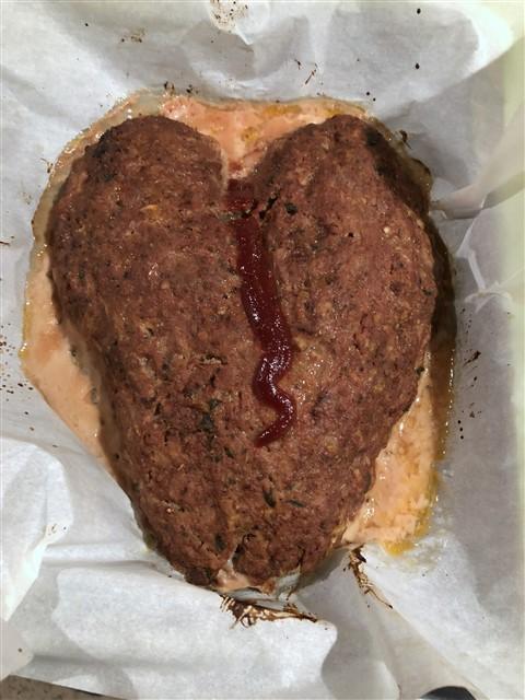broken heart shaped meatloaf