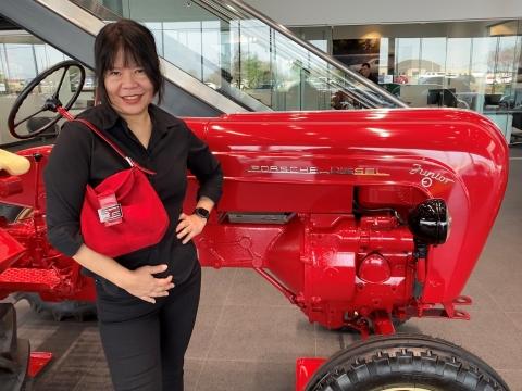 red porsche diesel tractor red fendi suede purse